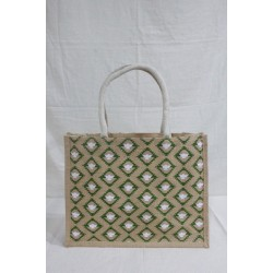Multi Utility Jute Bag - Random Colour Abstract Design with Zipper (15 X 5 X 12 inches)