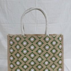 Multi Utility Jute Bag - Random Colour Abstract Design with Zipper (15 X 5 X 12 inches)