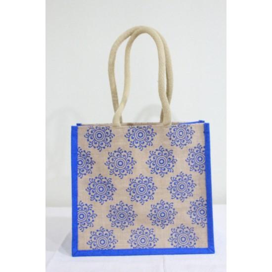 Multi Utility Jute Bag - Random Colour Random Design Long Handle Bag with Zipper (13 X 5.5 X 12 inches)