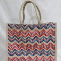 Multi Utility Jute Bag - Random Colour Abstract Design Long Handle Bag with Zipper (16.5 X 5 X 13.5 inches)