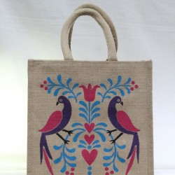 Gift Bags for Wedding and Other Occasions - Multi Colour Peacock Print with Zipper (11.5 X 6 X 12 inches)