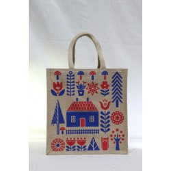 Gift Bags for Wedding and Other Occasions - Multi Colour Garden Scene Print with Zipper (11.5 X 6 X 12 inches)