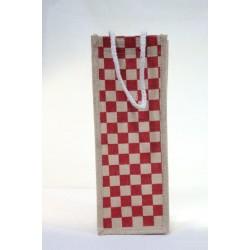 Water Bottle Bag - Random Colour Checked Print Jute Bag (5 X 4.5 X 13.5 inches)