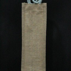 Water Bottle Bag - Plain Jute Bag With Random Color Handle (4.5 X 4 X 13.5 inches)