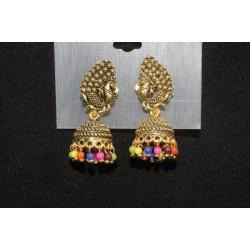 Oxidised Gold Finish Alloy Metal Traditional Colored Beads Jhumka, Jhumki Earrings