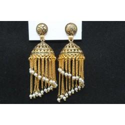Oxidised Gold Finish Alloy Metal Traditional Dangler Pearls Jhumka, Jhumki Earrings