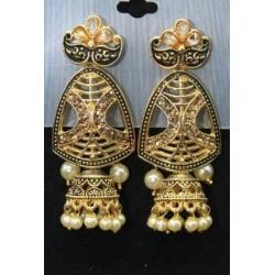 Oxidised Gold Finish Alloy Metal Traditional American Diamonds And Pearls Jhumka, Jhumki Earrings