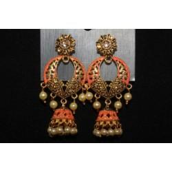 Oxidised Gold Finish Alloy Metal Designer American Diamonds And Pearls Jhumka, Jhumki Earrings