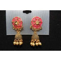 Oxidised Gold Finish Alloy Metal Traditional American Diamonds, Color Enamelled And Pearls Jhumka, Jhumki Earrings